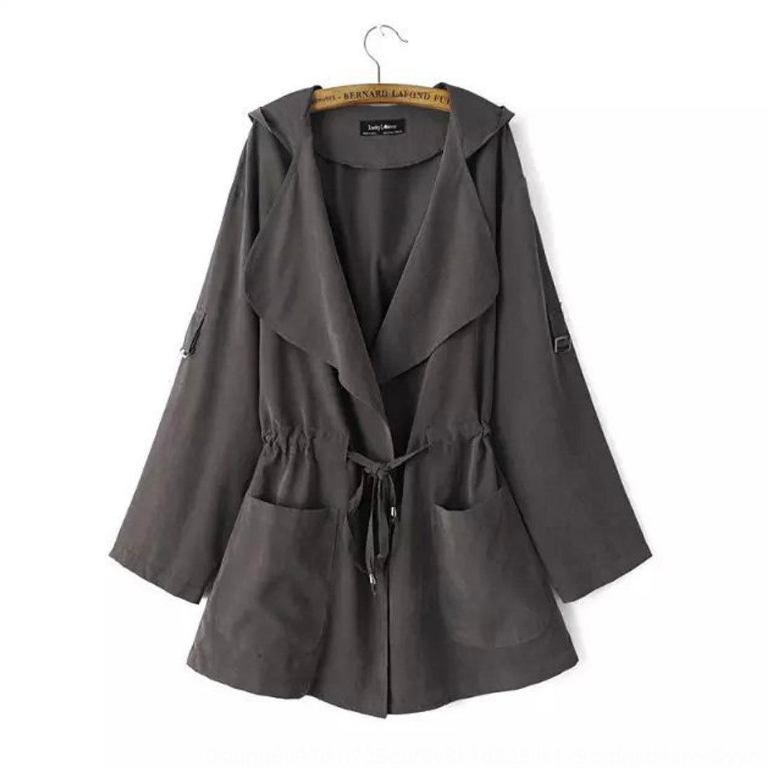 pvSem 2020 Autunno nuovo media lunghezza incappucciato cappotto Windbreaker cappotto di colore solido di luce Trench Donne