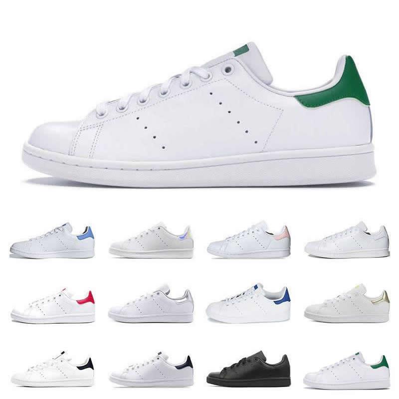 Sıcak Erkekler Klasikler Stan Smith Kadınlar Düz Sneakers Yeşil Beyaz Lacivert Oreo Gökkuşağı Moda Erkek Trainer Açık Spor Ayakkabı Boyutu 36-44