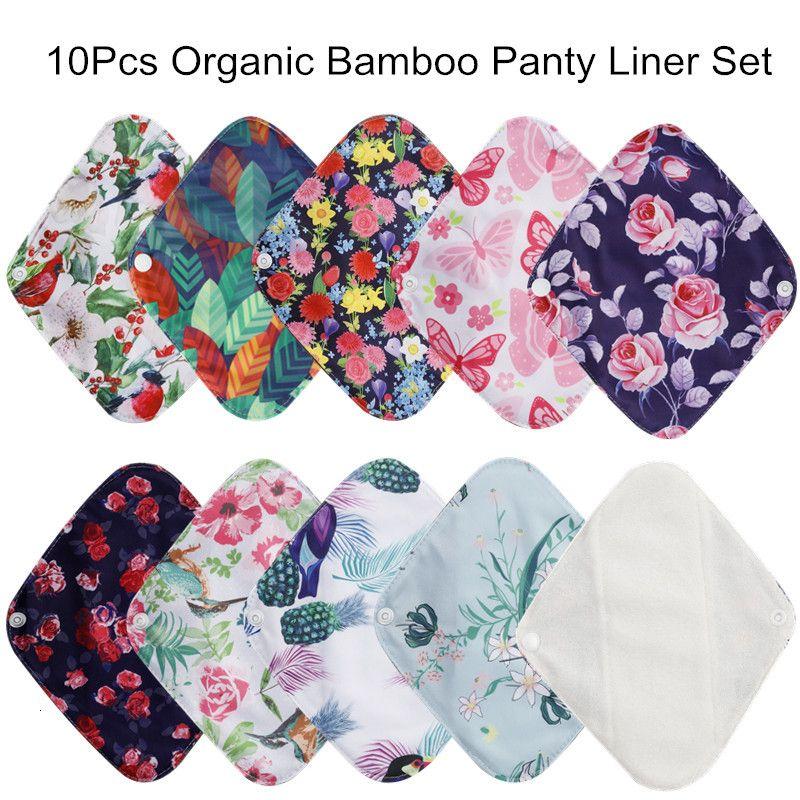 [Simfamily] 10 unids reutilizables impermeables almohadillas de fibra de bambú de bambú de tela menstrual almohadillas sanitarias de la maternidad femenina de la higiene delanty