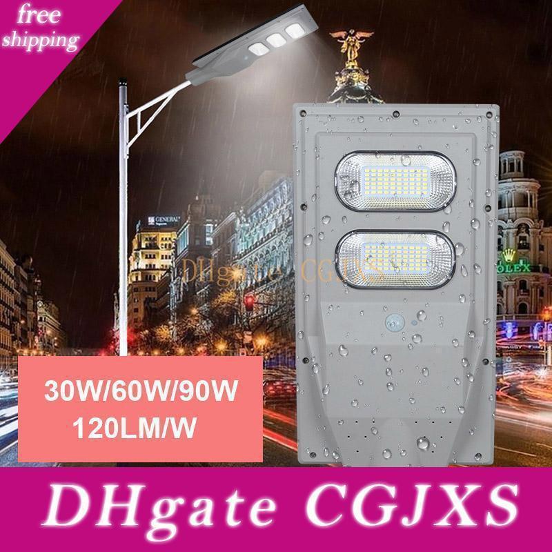 Lampione solare 120lm / W 30w 60w 90w IP65 Pir del sensore di movimento integrato via solare palo della luce e il telecomando