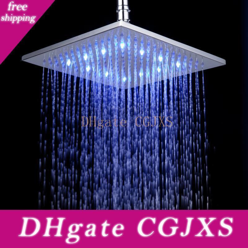 8-Zoll-Wasser angetriebener Niederschlag LED-Duschkopf .Bathroom 21cm * 21cm 3 Farben ändern Led Showerhead ohne Dusche Arm .Chuveiro Led