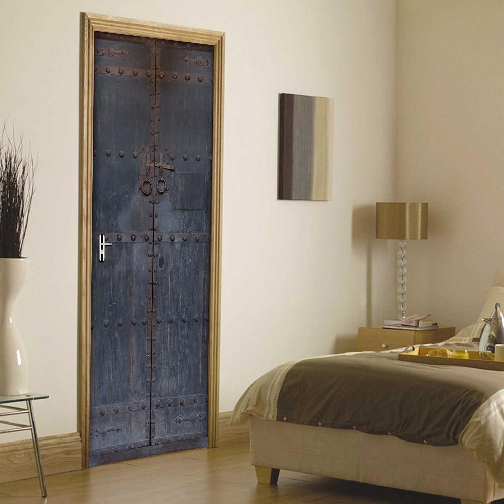 3D DIY Chinese retro old wooden door decoration self-adhesive decorative waterproof door stickers mural bedroom living room