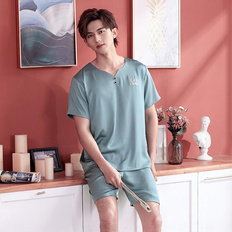 ge9fJ Pyjama été neige fine en deux parties de vêtements pour hommes d'été à manches courtes short de soie maison hommes costume en soie soie comme l'usure de la maison