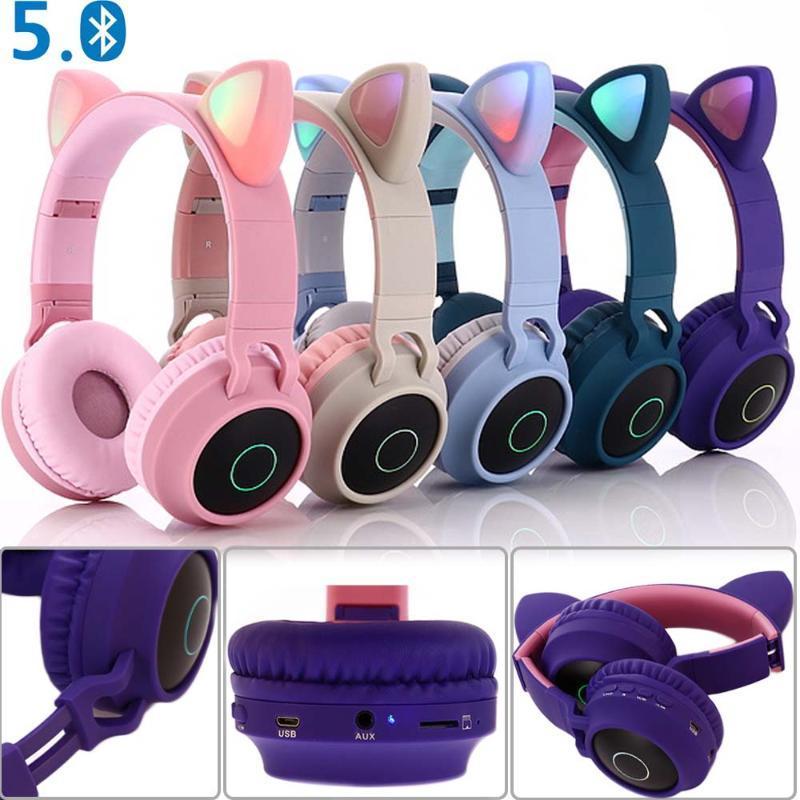 Orelha Cat JINSERTA LED Bluetooth Headphone Bluetooth 5.0 Crianças Headphones luz brilhante Headset Gaming fones de ouvido para PC C