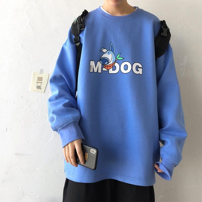 yWAoR X0jJv redonda 2020 del cuello de los hombres de los hombres par de otoño suéter de la historieta floja impresa suéter de la capa de manga larga nueva capa