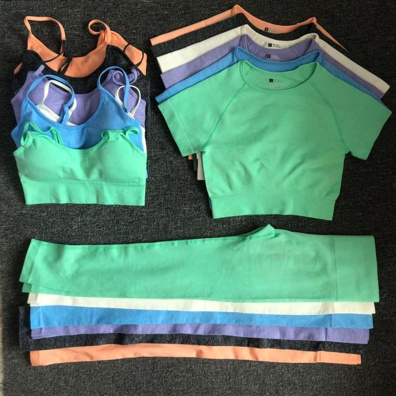 3 / PCS Yoga Set Workout Nahtlose Frauen Sportswear Gym Kleidung Sportanzüge Fitness Short Sleeve Crop Top hohe Taillen-Gamaschen
