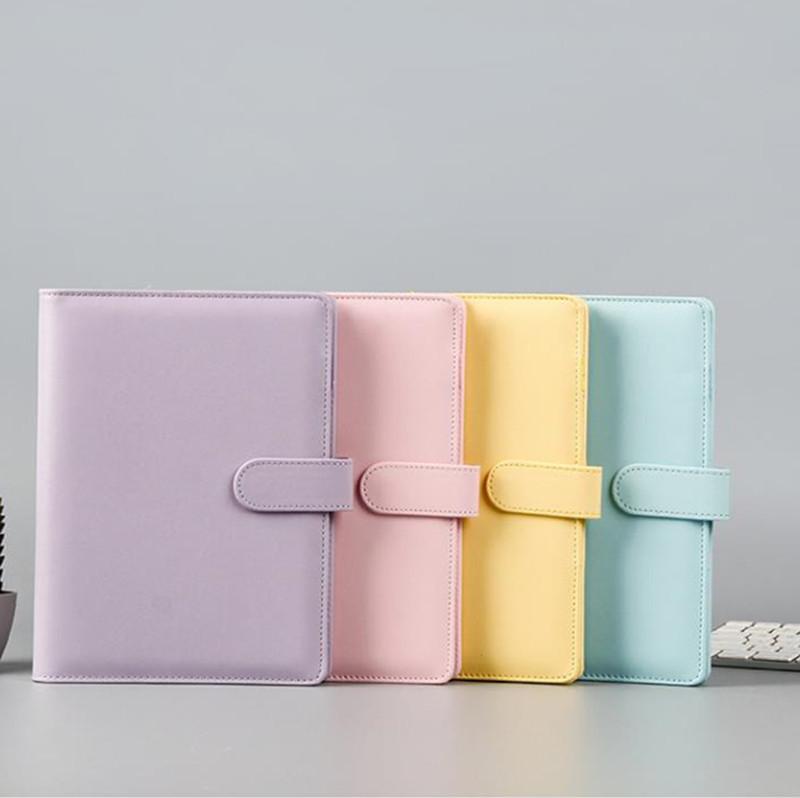 A6 PU Deri Notebook 19 * 13cm Manyetik tokalı A6 Dolgu kağıdı Doldurulabilir 6 Ring Binder can özel DIY Bağlayıcı Macaron rengi
