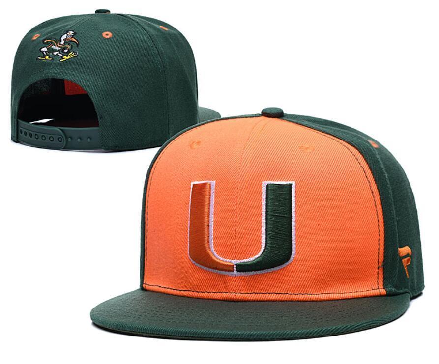 NCAA Miami Hurricanes Caps 2020 New College ajustáveis Chapéus Todos Universidade Snapback em estoque Mix Jogo Atacado Order Grey Voltar Red
