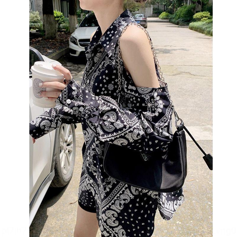 ventilatore Temperamento dea Top the-spalla shirt design accurato senso nicchia protezione solare moda stampati camicia della parte superiore delle donne Zff20