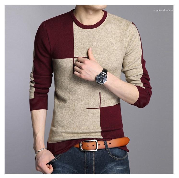 Collier Slim Applique ronde Pull Hommes Pull à manches longues hommes Vêtements lambrissé Hommes Pulls Designer