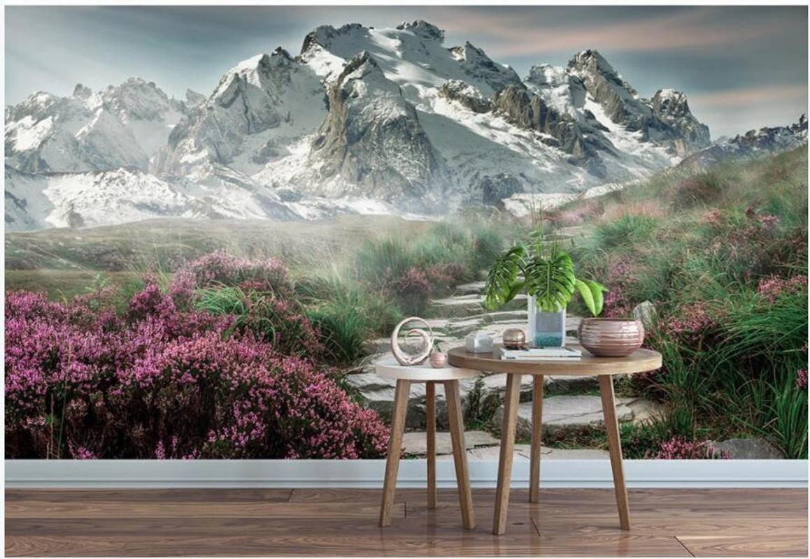 Wallpapers 3d Wall Murals Wallpaper For Living Room Modern Snow Mountain Wildflower Trail Home Decor Po Walls 3 D