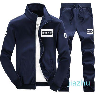 Hot Sale Mens Set 2PC Zipper Autumn Sportswear Casual Tracksuit Male 2018 Sweatshirt Jacket +Pans Suit Hoodies Moleton Masculino Men