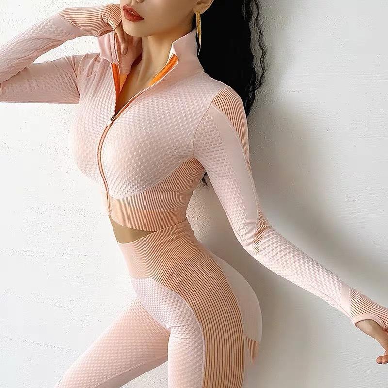 3 Adet Sorunsuz Yoga Seti Yüksek Bel Çizgili Salonu Giyim Kadınlar Nefes Hızlı Kuru İnce Tozluklar Spor Takımları Aktif Wear kırpın