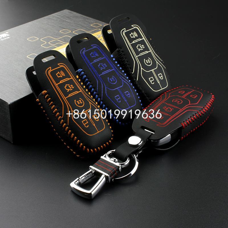 Key Case für Ford Mustang 2015 2016 F150 Limited Lincoln Mondeo 2013 Echtes Leder Auto Key Tasche Brieftasche Halter