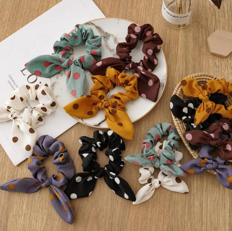 Orelha de coelho Hairband Mãe Filha Bow Headband Dot Pai Criança Matching Headwear Elastic Cocar Acessórios de cabelo 6 cores DW5735
