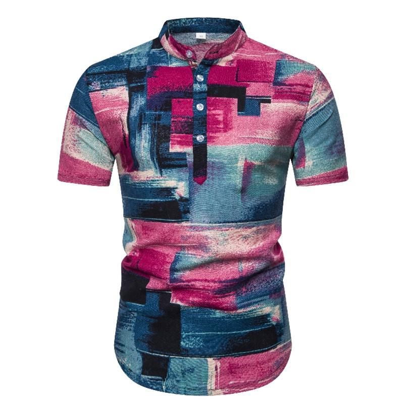 Hawaii Gömlek Keten Gömlek Erkekler 2020 Yepyeni Mandarin Yaka Kısa Gömlek Erkekler Streetwear Erkek Casual Henley