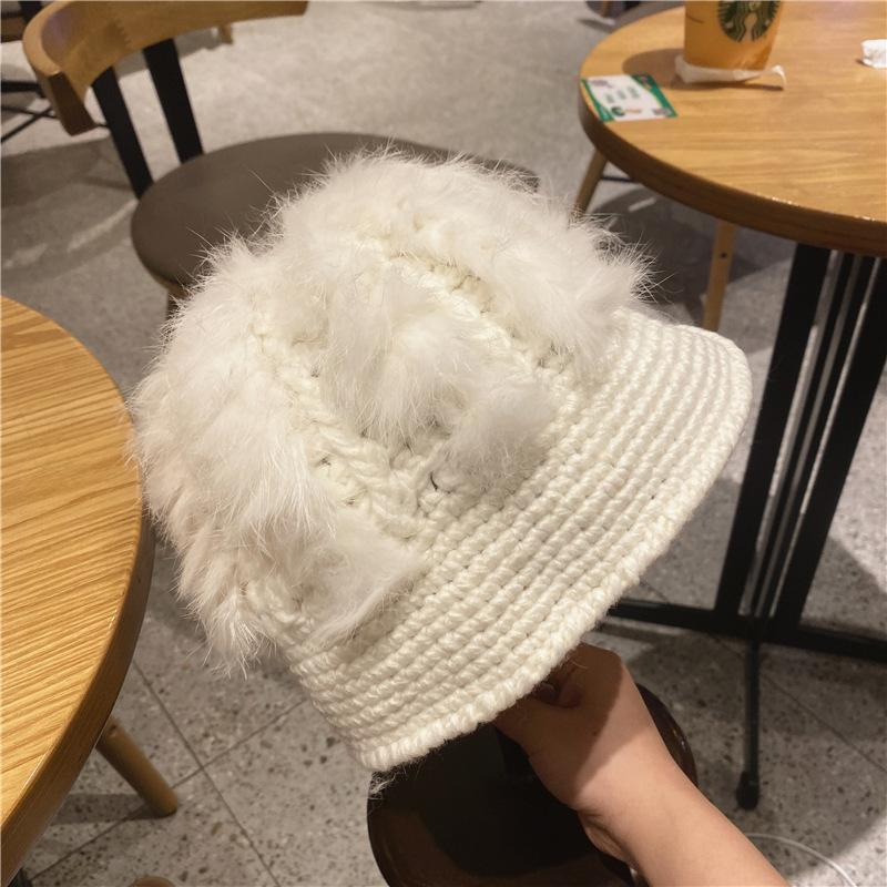 New grey wool hat lady Autumn winter hand-woven leather hat rabbit hair warm ear protection wool wool wrap painter hat