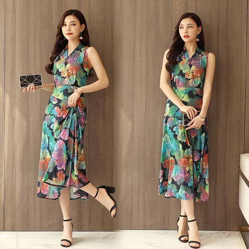 Tasarımcı Kadınlar Giyim Yaz Baskılı Bohemian Plaj Sundress Artı boyutu V Yaka Kolsuz Uzun Maxi Elbise Günlük Stil vestidos Mujer