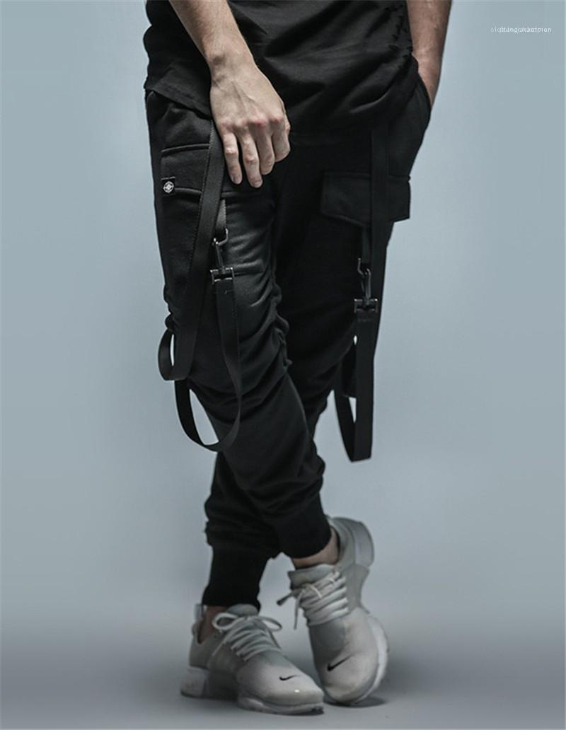 Pantalon Ruban Fashion Designer Mulit poches lambrissé Hommes Pantalons Casual hommes Vêtements Hip Hop Style de Mens