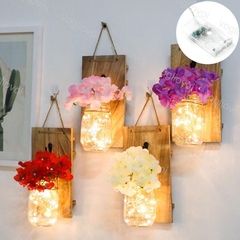 أضواء الليل ماسون جرة وهمية زهرة الصمام سلسلة ضوء زجاجة ريفية مع تحكم جدار الديكور المنزل الجنية جارلاند دي إتش إل