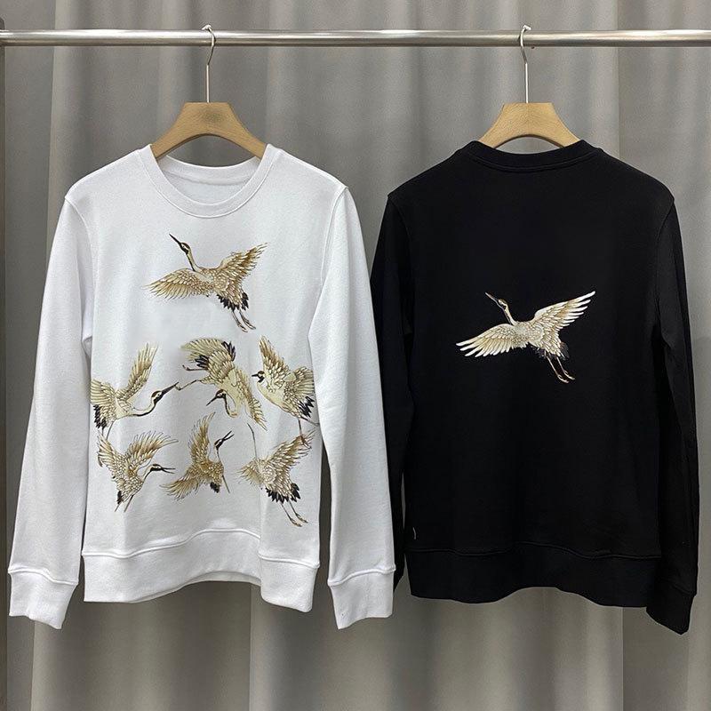 20SS Mens Guindaste Imprimir Quente Crewneck Sweatshirt Rua alta qualidade Homens Mulheres Pullover Hoodies Outono Inverno Outwear Tamanho S-XL