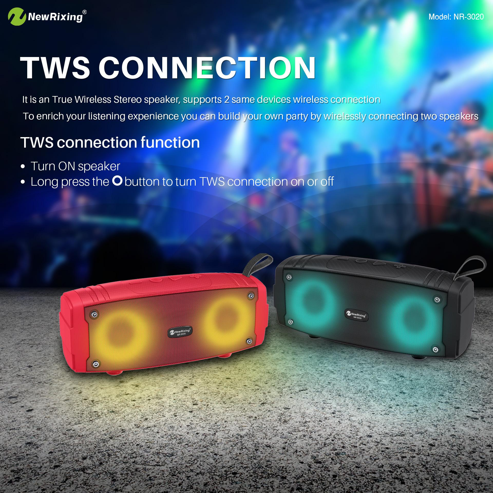 TWS Wireless Bluetooth Speaker LED flash Portable Boom Box Outdoor Bass Column Subwoofer Sound Box with Mic Support TF FM USB Subwoffer