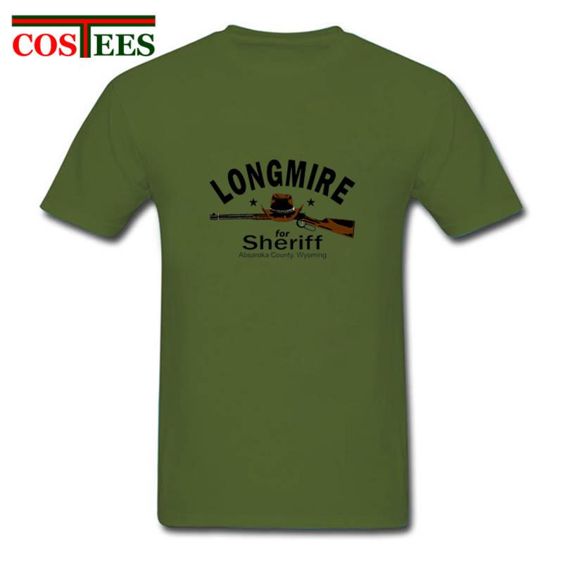 Longmire para a camisa homens Sheriff T City Hunter T-shirt homme homem hombre cowboy demin tshirt Camiseta masculina ganhos do oeste camiseta