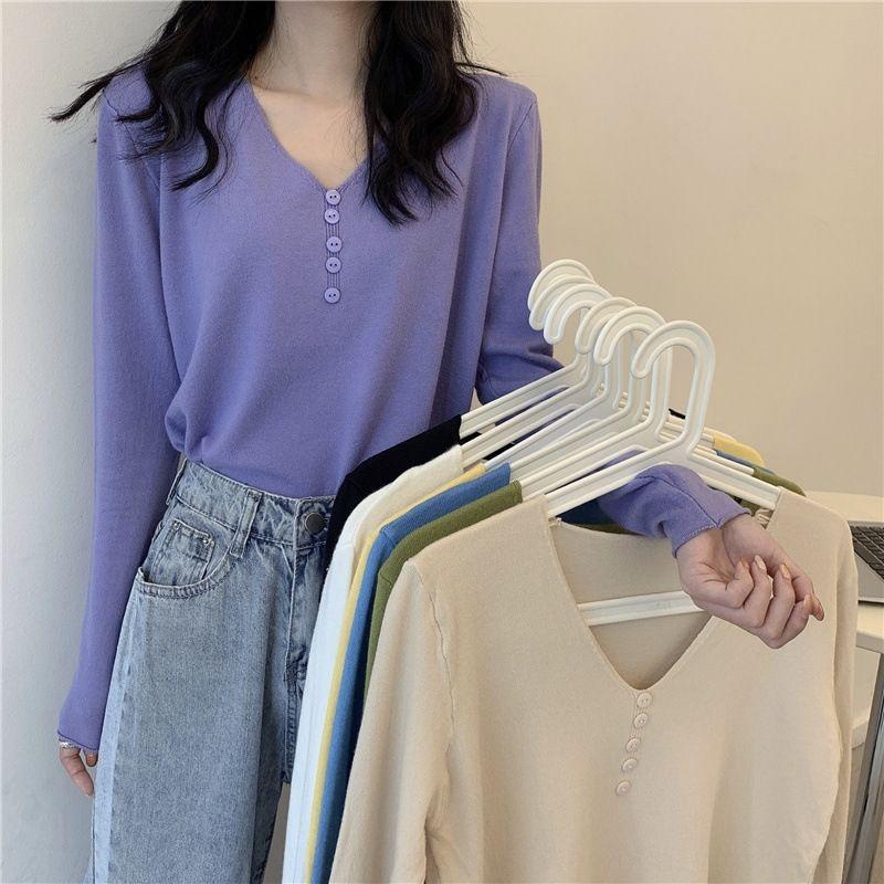 camisa superior sólido simple base de color todo-fósforo V-cuello 2020 principios de otoño camisa nueva manera de la tapa del estilo de Corea de las mujeres largas de la manga de punto