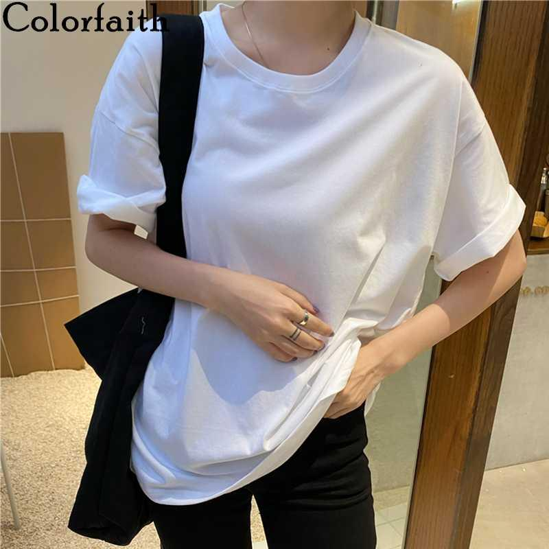 Colorfaith New 2020 Frauen T-Shirt Solide Multi 8 Farben beiläufige lose grundiert Grund Modische Minimalist Stil Wilde Tops T6966