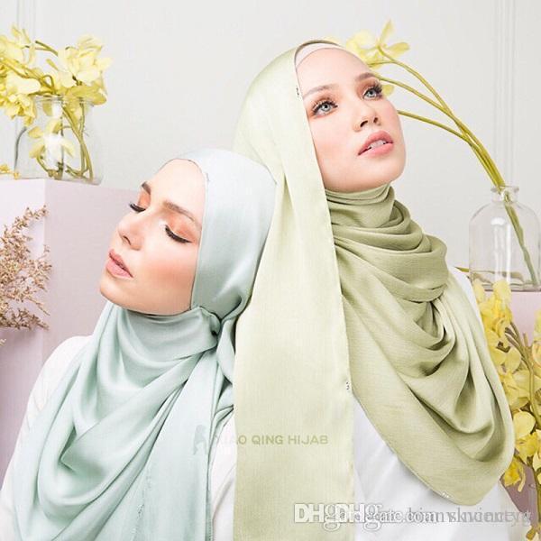 Womens plain bubble chiffon scarf Muslim hijab wrap printe solid color shawls headband popular hijab muslim scarves/scarf 18 color headpiece
