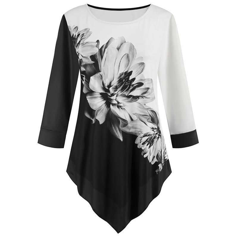 Tinta Pintura Impresso Túnica Plus Size Mulheres Irregular Casual White Women Shirt 2020 Bairro Primavera O Neck Três Leopard Blusa Y200828