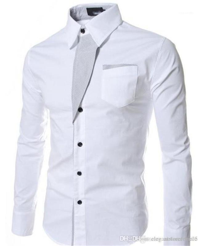 Moda color sólido Mujer Ropa de diseño de vestir para hombre adelgazan las camisas de manga larga solapa de cuello para hombre camisas
