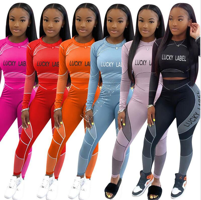 Femmes Survêtement Étiquette chanceux lettres manches longues T-shirt Crop Top Pantalons leggings serrés Slim Deux Piece Ensemble Tenue de sport Costume exercice D92305