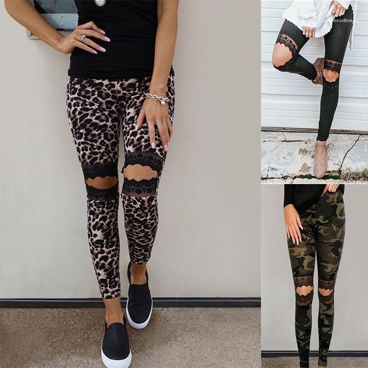Svago urbano femminile Leggings Pants Womens 2020 Designer di lusso di estate dei vestiti delle donne dei pantaloni della matita del merletto Hole