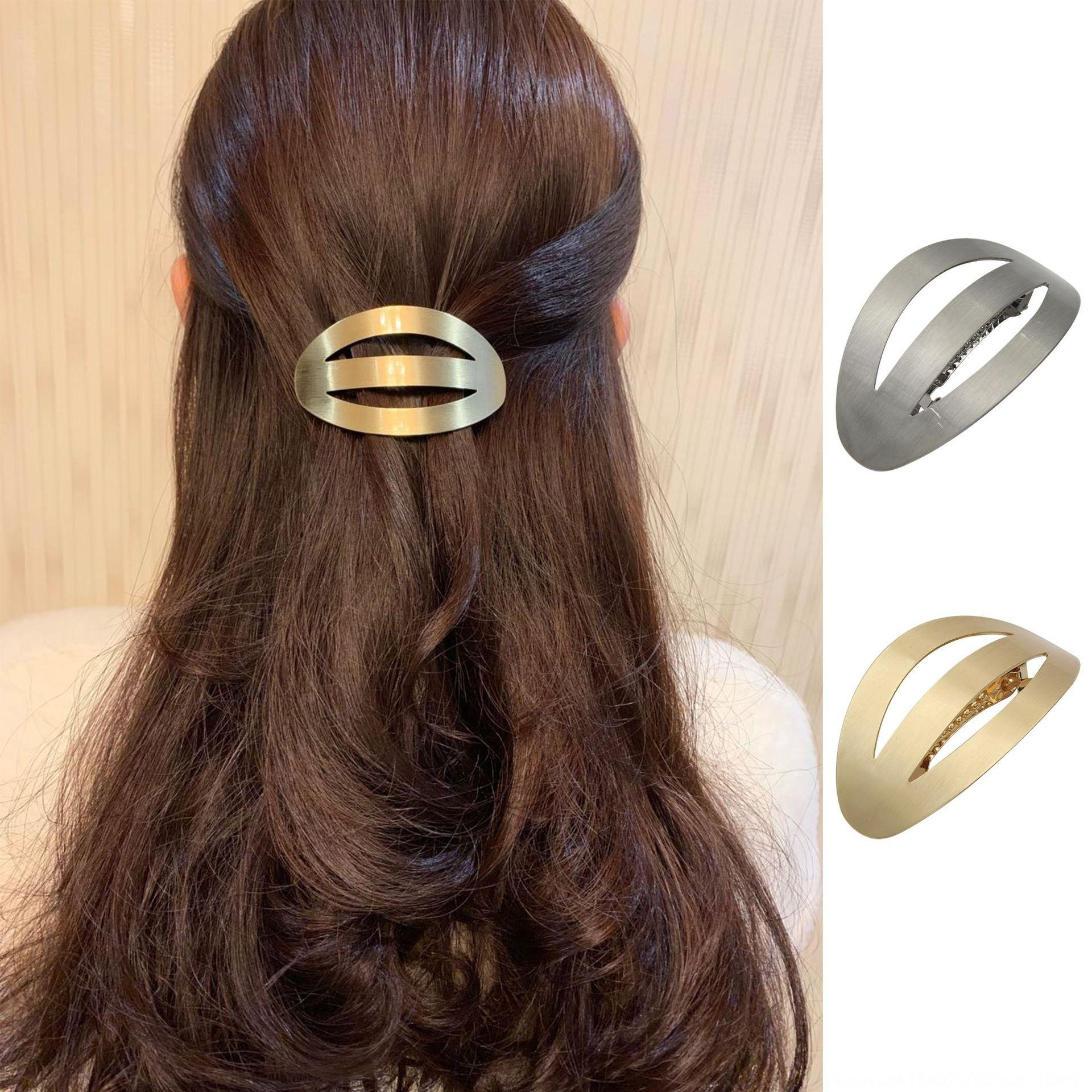 nsvbo Korean simple cold temperament hairpin korean Simple geometric Japanese-shaped hollow-out arc-shaped metal brushed hairpin spring clip