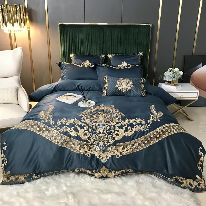 Luxo europeus Royal Gold Bordados 60S cetim de seda algodão macio cama Set Duvet Cover cabido Folha Lençois Fronhas