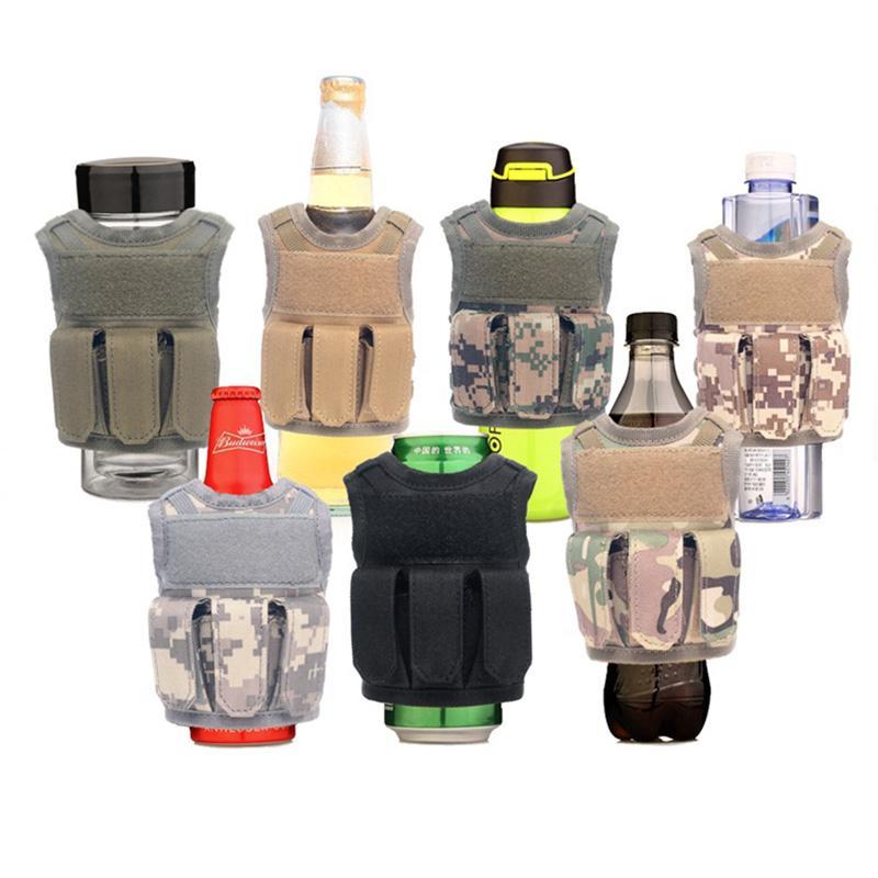 Tactique Molle Mini Outdoor Gilets Cooler Beverage Bouteille de bière sangles ajustables couverture