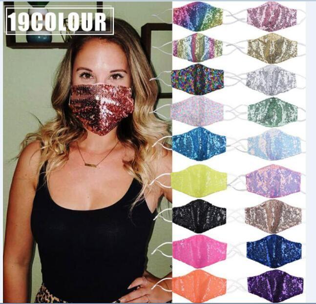 Máscara de Bling de la manera 3D lavable reutilizable PM2.5 Escudo cuidado de la cara del Sol de Oro del codo lentejuelas brillantes Monte Cara Máscaras en Filtro PM2.5