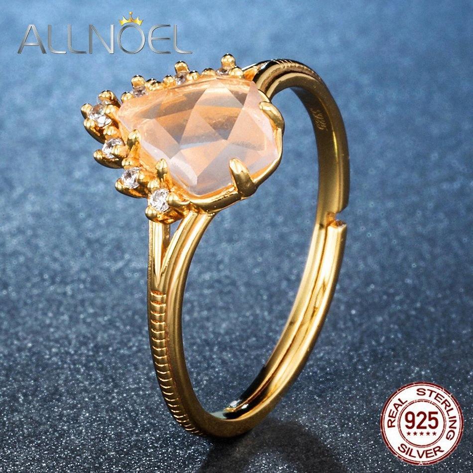 ALLNOEL argent 925 anneaux pour les femmes 100% Natural Rose Quartz 9K réel plaqué or fin Jewlery réglable Anneau f8zk #