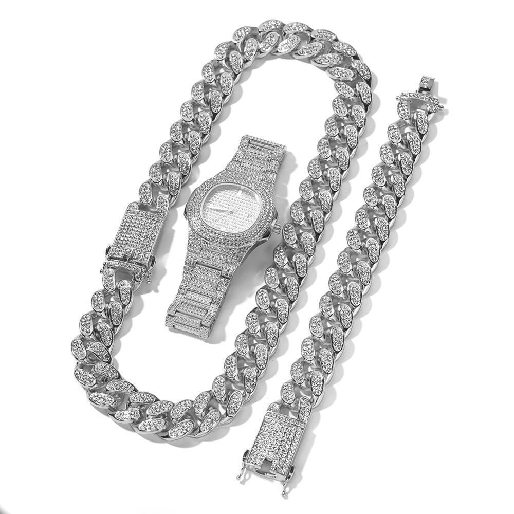 20мм большой браслет широкий кубинской цепи ожерелье и смотреть 3шт Mens Hip Hop комплект ювелирных изделий Gold Silver Rose