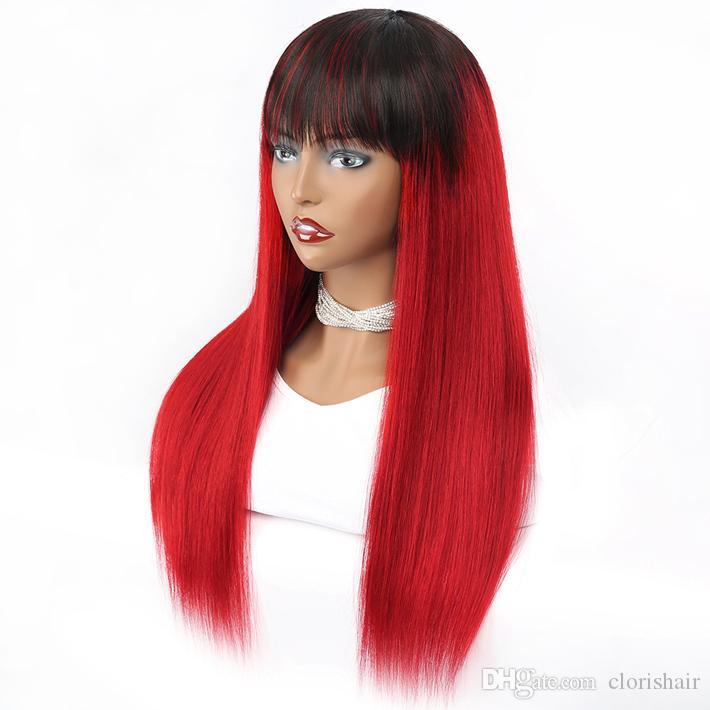 Máquina roja de raíces oscuras hecha pelucas desplegables con flecos para mujeres negras 1b rojo recto crudo indio indio rema humano peluca frontal sin encaje