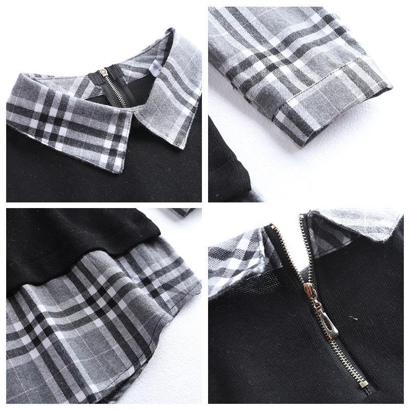 falso 2020 de duas peças de colarinho camisola outono e inverno New malha camisa camisola ocasional das mulheres xadrez costura camisa de base u0y6o moda u0y6o