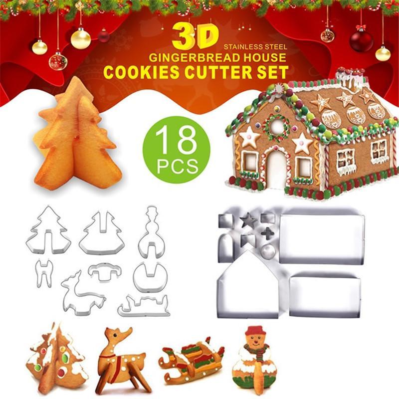 18 قطعة / مجموعة 3D عيد الميلاد قطع الكعكة عيد الميلاد الخبز قوالب الفولاذ المقاوم للصدأ الزنجبيل دار الحزب خبز القالب GWC981