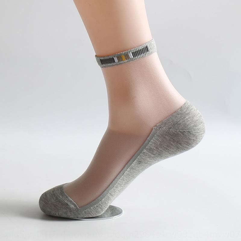 Uro2j printemps et bas chaussettes mince cristal de verre hommes d'été mince de coton des hommes de coton antidérapants soie bas de soie chaussettes
