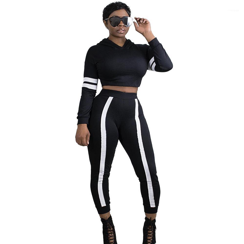 قطعة واحدة كم طويل فضفاض الربط الرياضة عارضة بدلة مقنعين العلامة التجارية مصمم أزياء المرأة هوديي