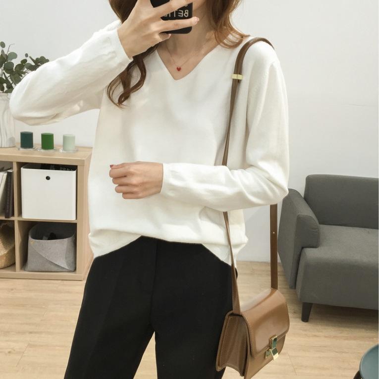 Multi-Cor BASIC solta emagrecimento V-neck cor sólida Top malhas malhas macia cerosa camisa confortável base de manga longa all-jogo superior das mulheres