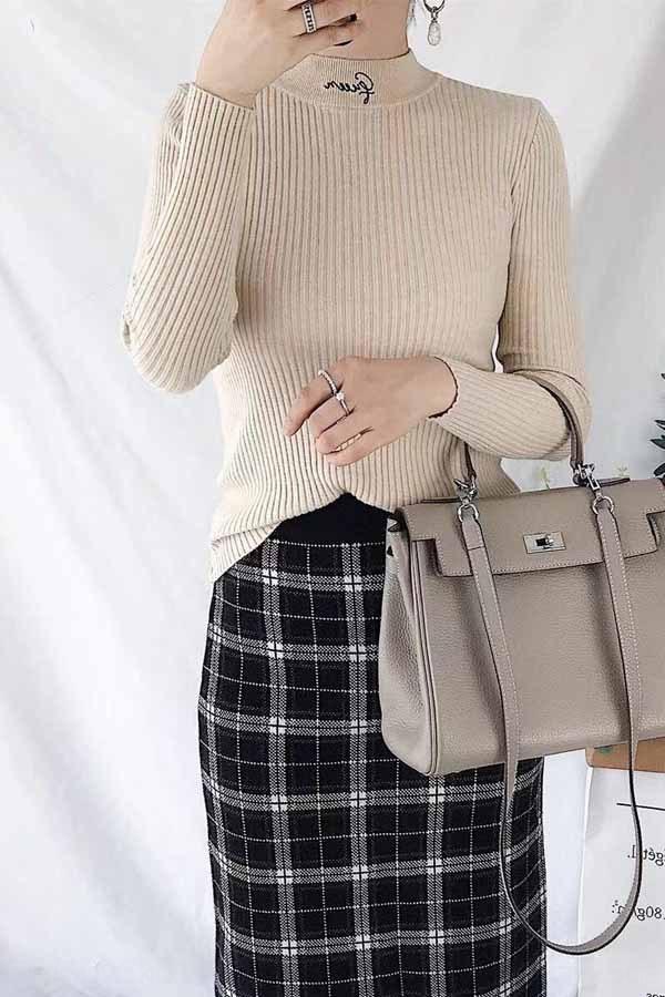 con núcleo de hilo especial explosión 2019 bordado otoño e invierno Nuevo anillo de base bordado simple del suéter del suéter del estilo de Corea del suéter MJjAk