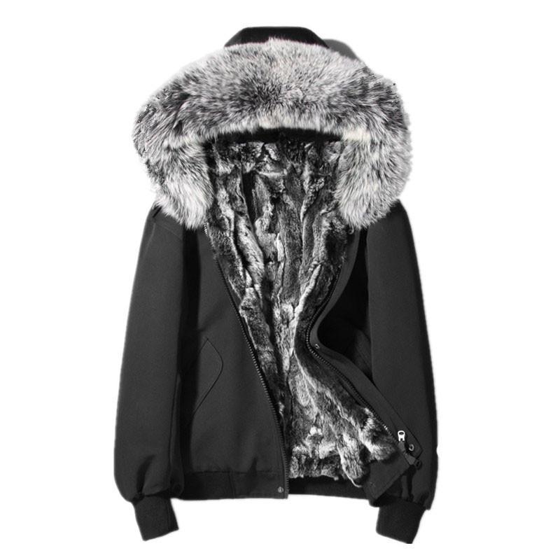 Inverno Jacekt Natural Fur Coats uomini copre reale Raccoon Fur Collar Parka caldo uomini cappotto corto L18-2507 MY778