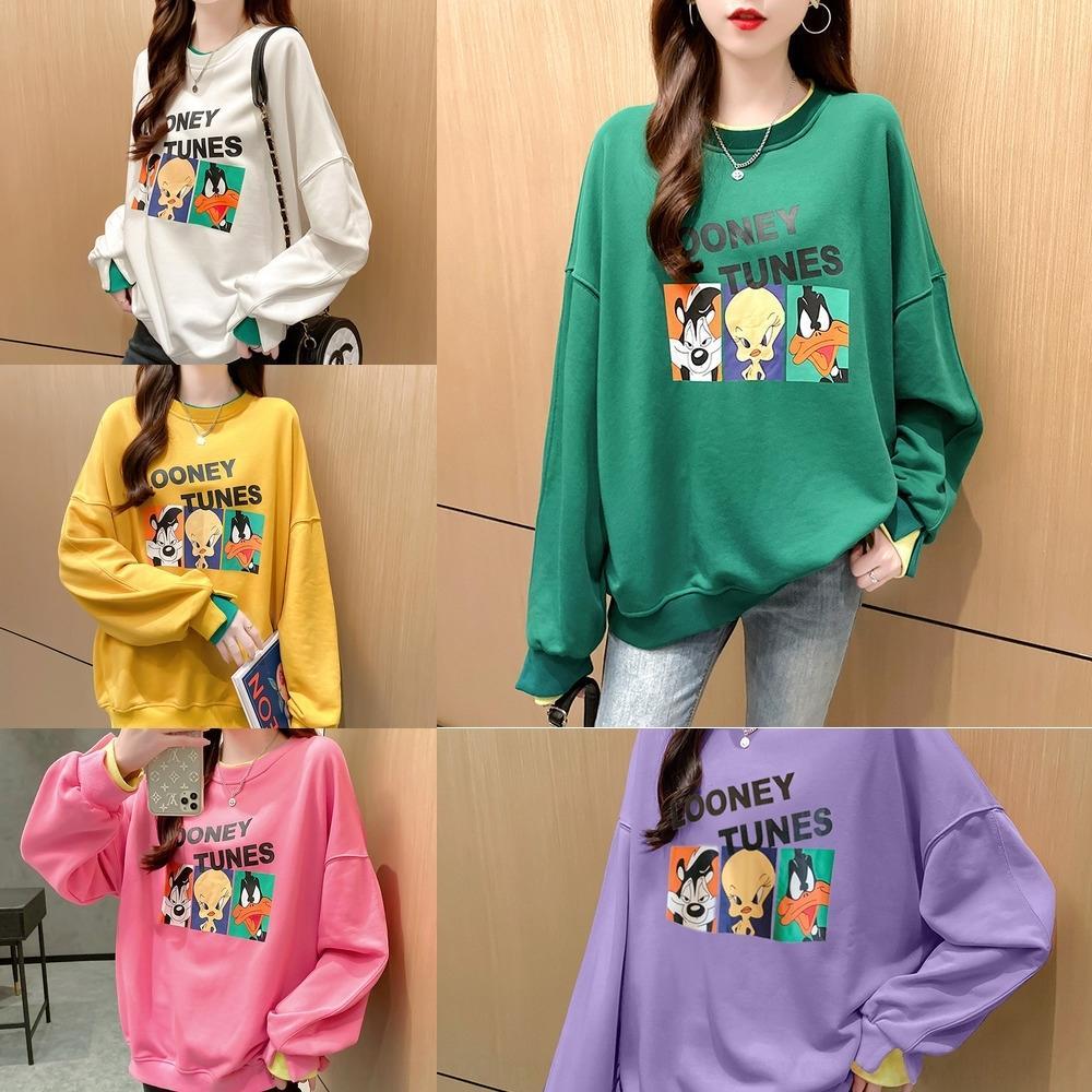 6o9y5 1oYgs 2594 # Мода 2020 Осени рыхлого Ins Топ мультфильм пуловер свитера женщины супер горячие пуловеры напечатаны поддельные из двух частей верхней