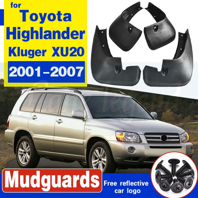 FLAP de boue moulé à 4pcs FLAP pour Toyota Highlander Kluger 2001 - 2007 XU20 Splash Guards Garde-boue 2002 2003 2004 2005 2006 2006